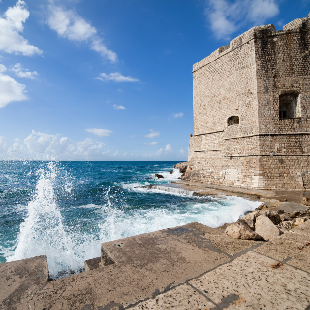 """Dubrovnik Pier and Fortification"" stock image"