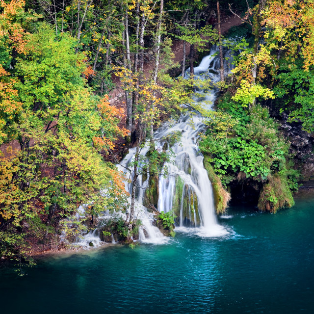 """Waterfall in Autumn Forest"" stock image"