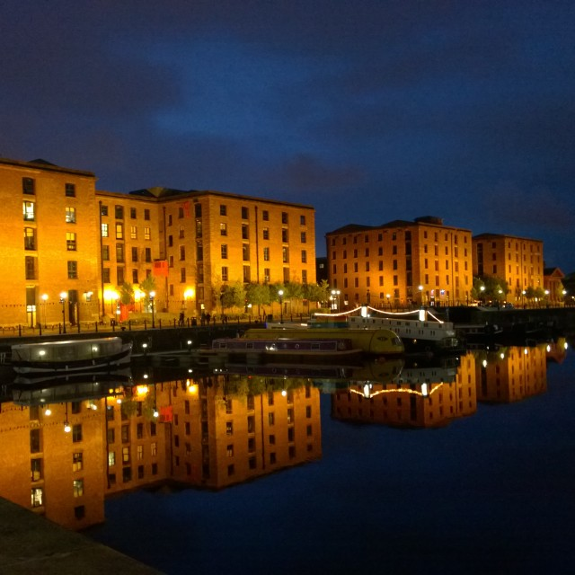 """Albert Dock, reflected"" stock image"