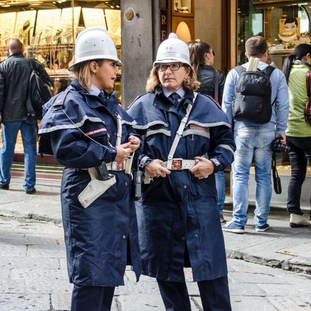 """Policewomen in Florence"" stock image"