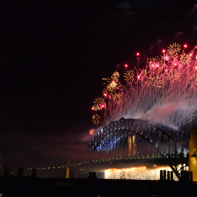 """New Year Fireworks Sydney Harbour Bridge Cascade Wide"" stock image"