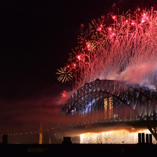 """New Year Fireworks Sydney Harbour Bridge Cascade"" stock image"