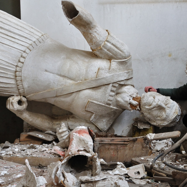 """""""broken statue and man with plaster mask fragment"""" stock image"""