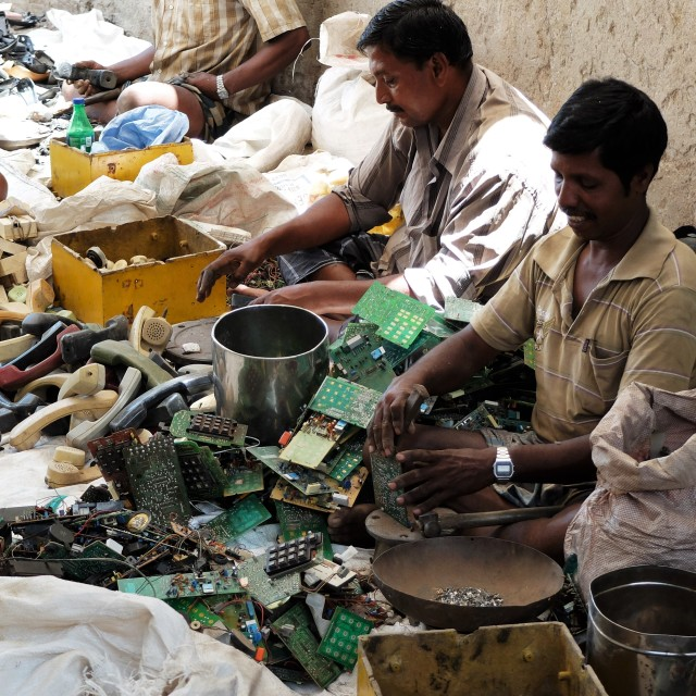 """Recycling electronic components India"" stock image"