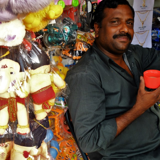 """Temple stall sells cuddly God's."" stock image"