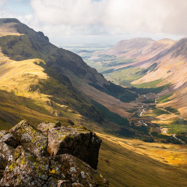 """Mountains and streams, Cumbria"" stock image"
