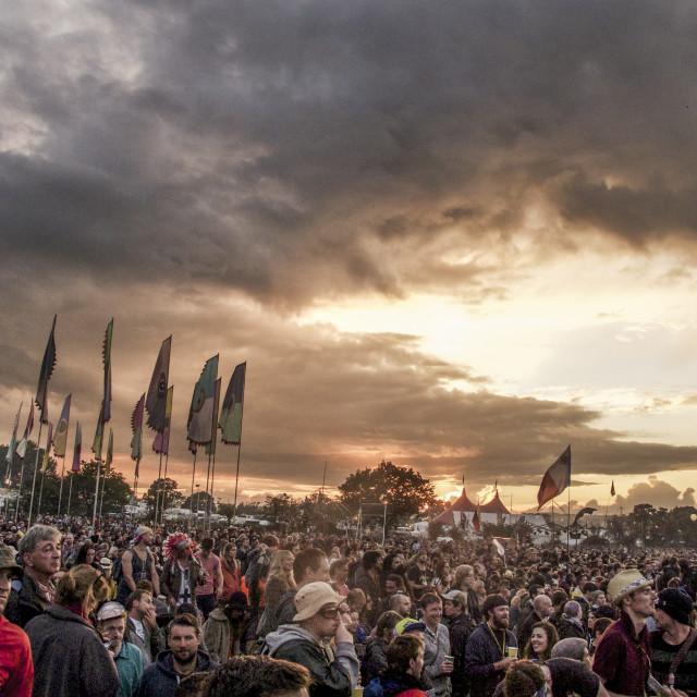 """""""Stormy sunset, Glastonbury 2014"""" stock image"""