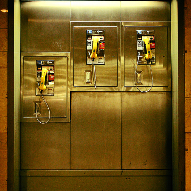 """New York Public Telephones"" stock image"
