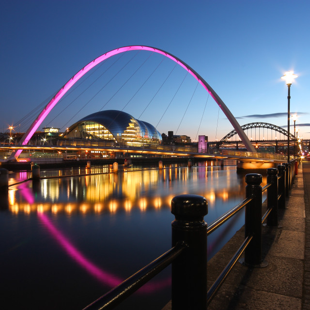 """Purple Newcastle-Gateshead Millennium Bridge, Tyne and Wear"" stock image"