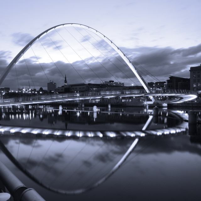 """Gateshead Millennium Bridge Reflected"" stock image"