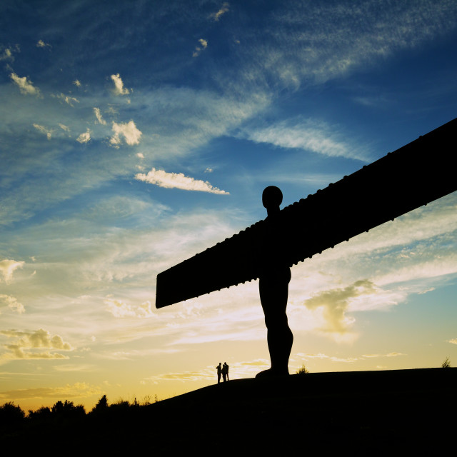 """The Angel of the North at Sunset"" stock image"