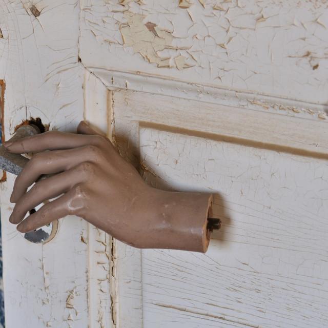 """""""mannequin doll hand old door"""" stock image"""