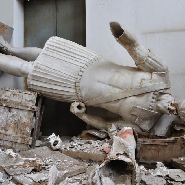 """""""broken statue gigantic figure of ancient god"""" stock image"""