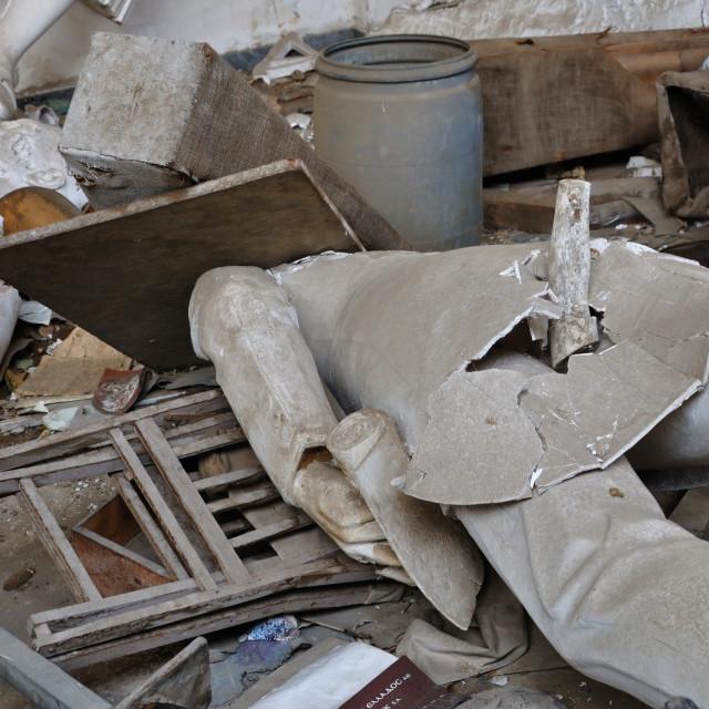 """""""broken statues in vandalized interior"""" stock image"""