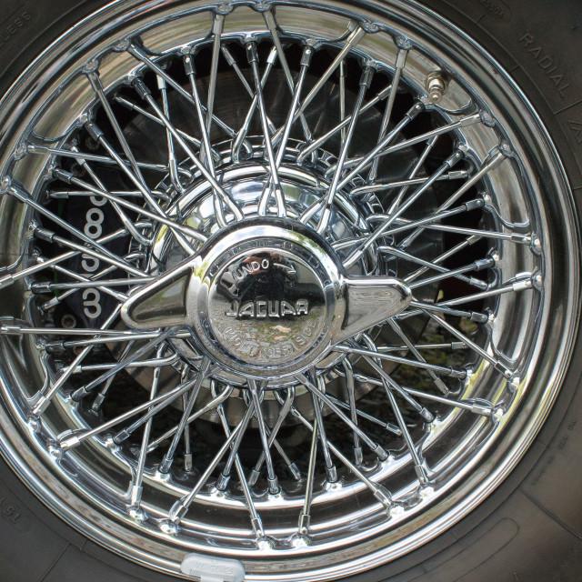 """Jaguar Chrome Spoked Wheel"" stock image"