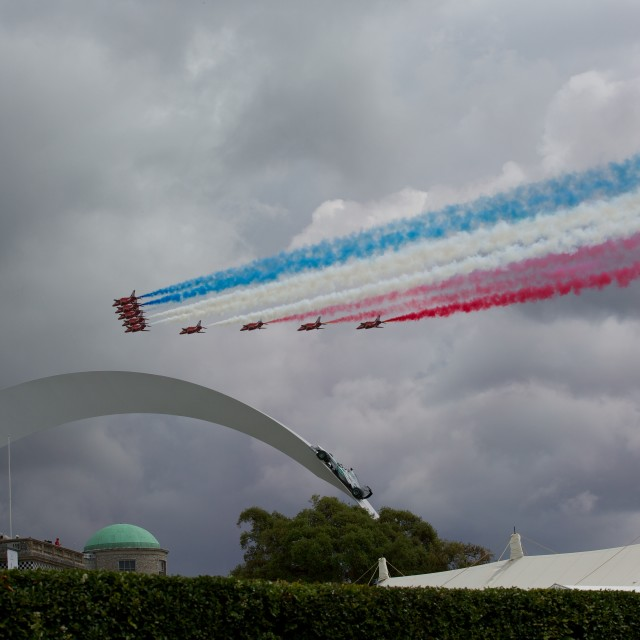 """Red Arrows at Goodwood"" stock image"