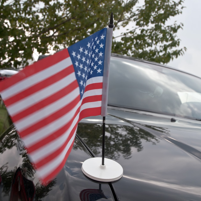"""Usa flag on car"" stock image"