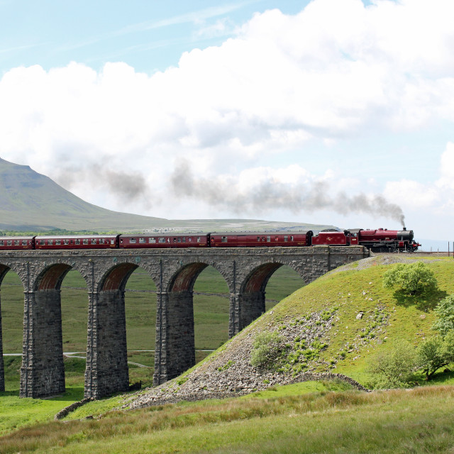 """Steam train Ribblehead Viaduct"" stock image"