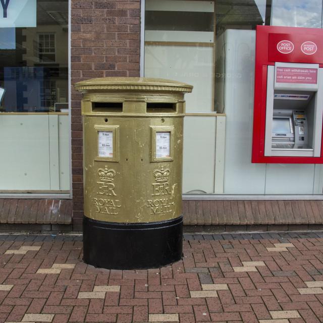 """Golden Postbox"" stock image"