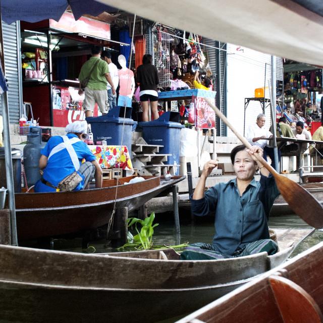 """""""Boatman, Floating Market"""" stock image"""