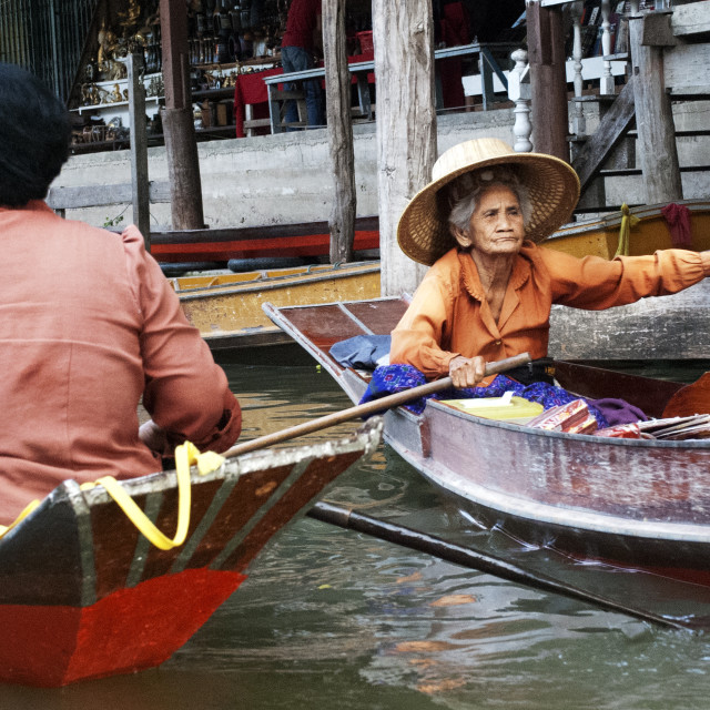 """Old Thai Woman in boat"" stock image"