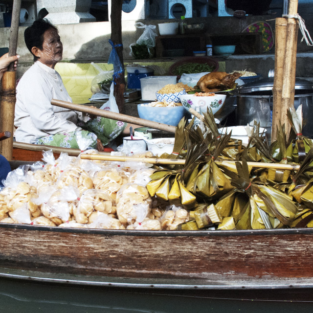 """Sticky Rice Seller, Floating Market"" stock image"