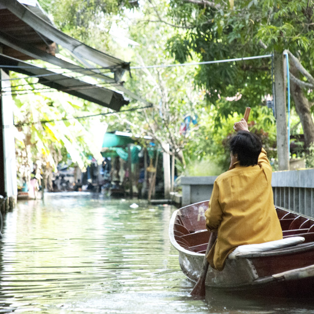"""Thai Woman on floating market"" stock image"