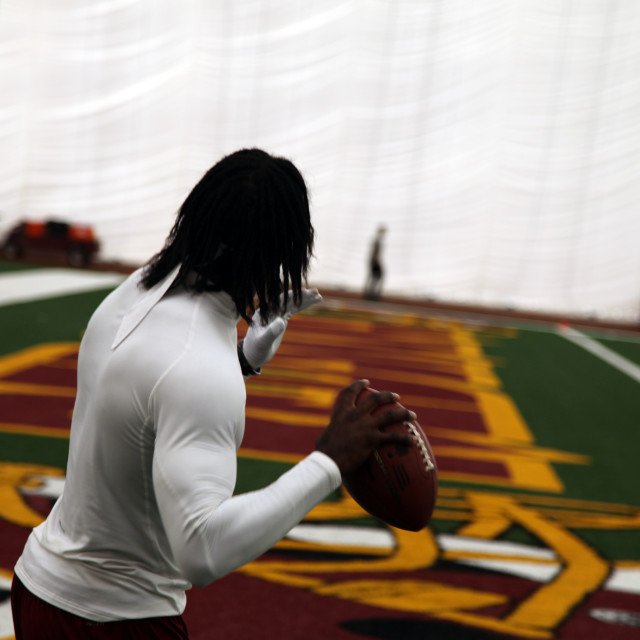 """Robert Griffin III QB warmups for Redskins"" stock image"