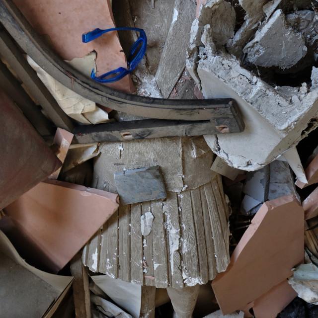 """headless statue among debris"" stock image"