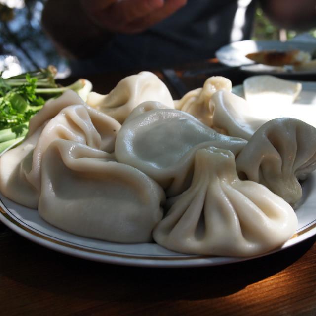 """""""Georgian dumplings khinkali"""" stock image"""