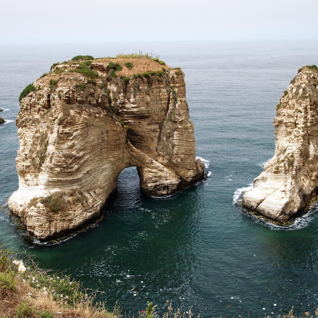 """Pigeon Rock in Beirut"" stock image"