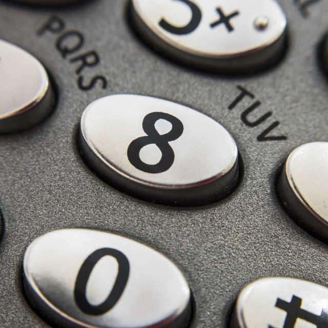 """The number 8 on a telephone keypad"" stock image"