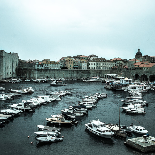 """Dubrovnik old town harbour"" stock image"