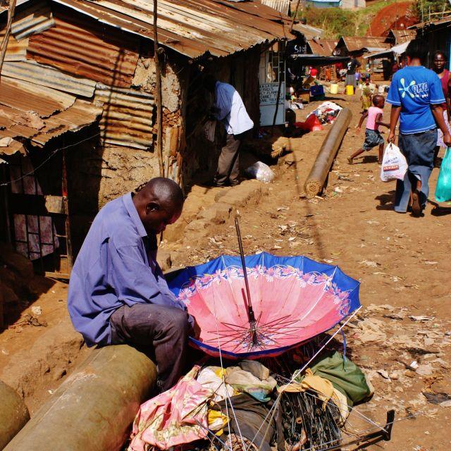 """Kibera Umbrellaman"" stock image"