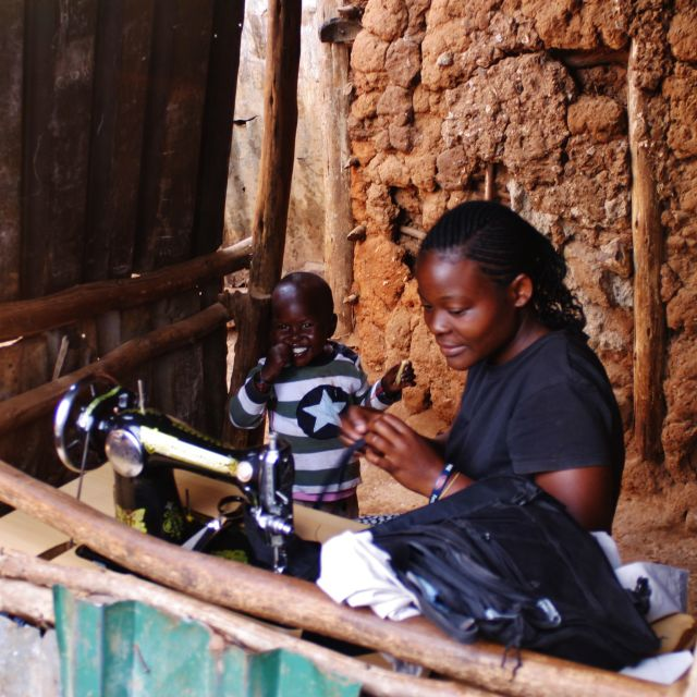 """Sewing in Kibera"" stock image"