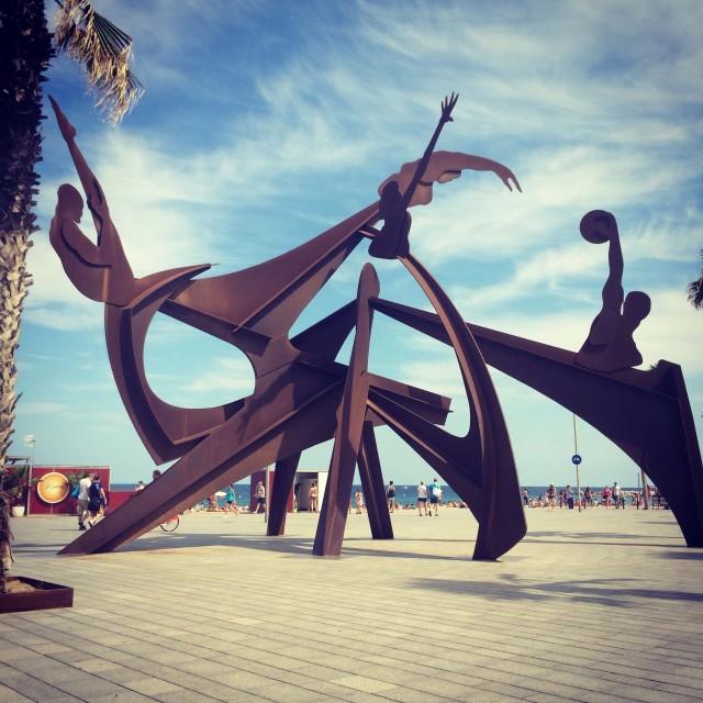 """Barcelona beach sculpture"" stock image"