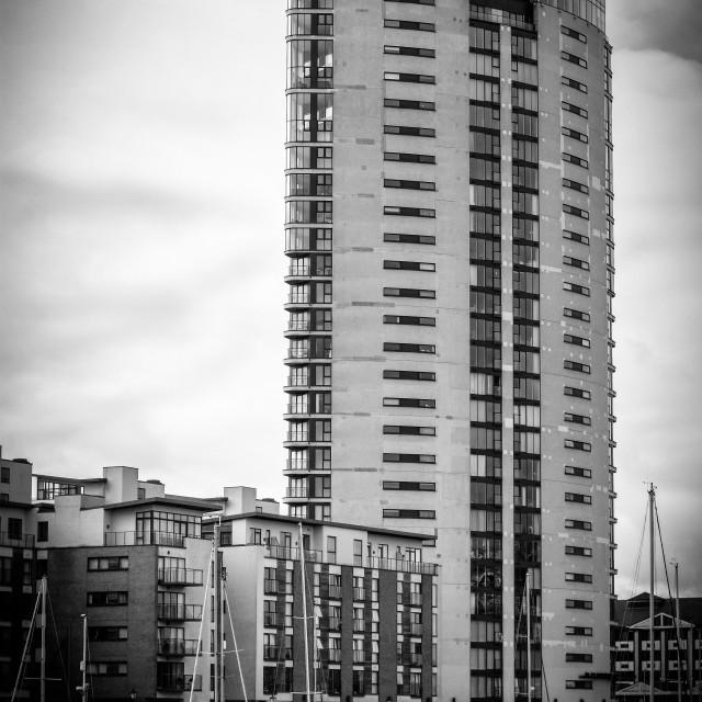 """Swansea Marina - The Tower"" stock image"