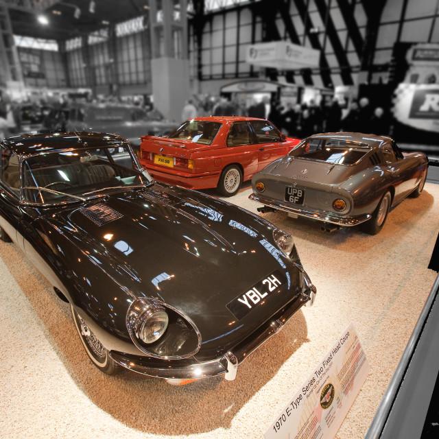 """""""Jaguar E-type, Ferrari, BMW e30 M3"""" stock image"""