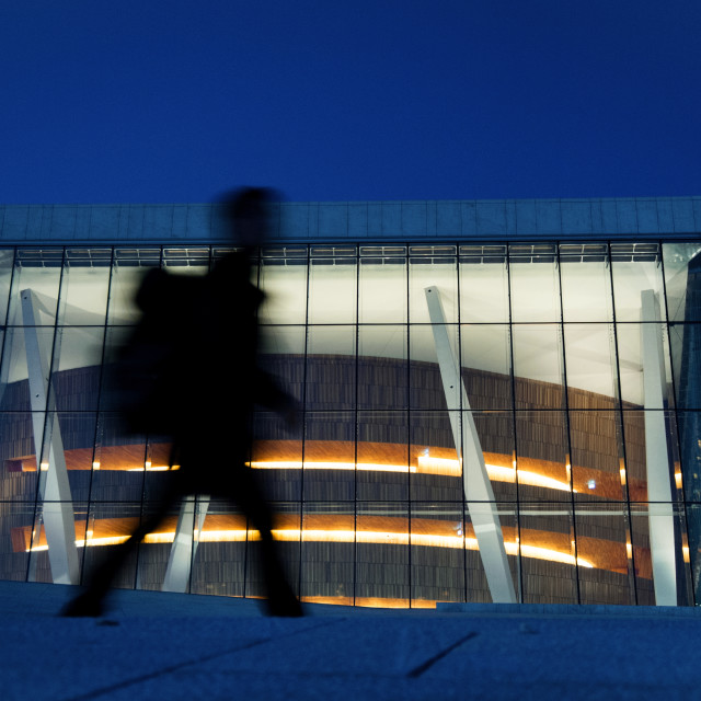 """Ghostly figure infront of the Oslo Opera House, Norway"" stock image"