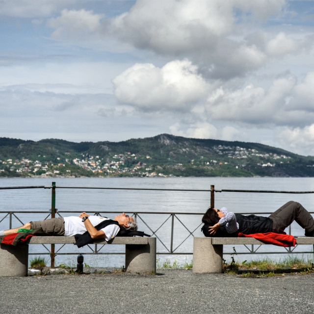 """Relaxing at Nordnes in Bergen, Norway"" stock image"