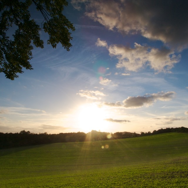 """Sunset over the Surrey Hills"" stock image"