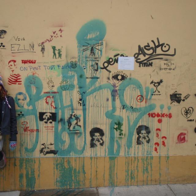 """Graffiti and girl in Valparaiso"" stock image"