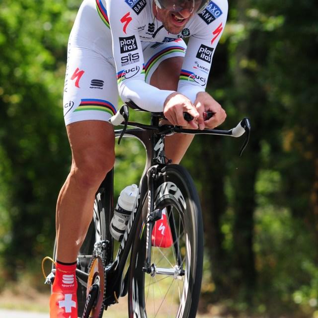 """""""Fabian Cancellara in full flight"""" stock image"""