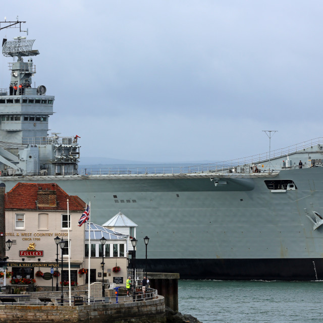 """HMS Illustrious at Portsmouth"" stock image"