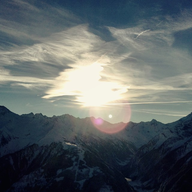 """""""A mid winter sunset in the Alps"""" stock image"""