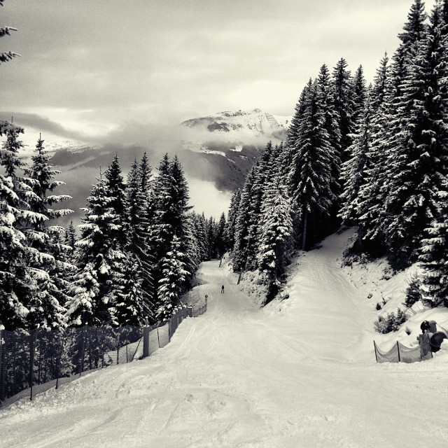"""""""The snow road back to the town"""" stock image"""