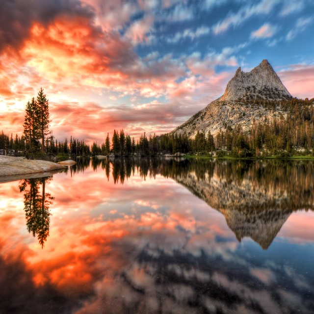 """Last Light at Cathedral Lake"" stock image"