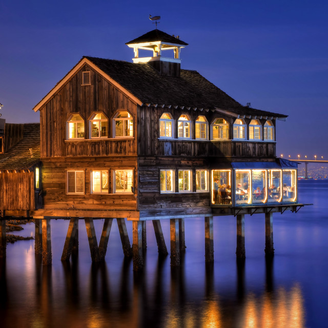 """""""The Pier Cafe in Seaport Village"""" stock image"""