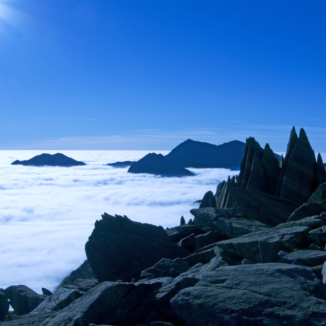 """Temperature inversion in Snowdonia"" stock image"
