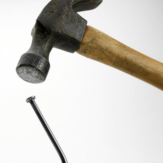 """""""Hammer and Bent Nail"""" stock image"""